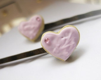 Heart Biscuits with Strawberry Cream_ Bobby Pins _ 1/12 Dollhouse Scale Miniature Food _ Polymer Clay