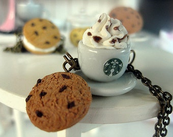 Starbucks Coffee with Cookie Bronze Necklace _ 1/12 Dollhouse Scale Miniature Food _ Polymer Clay _ Foodie Gift