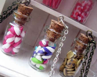 Marshmallows in a Jar Necklace _ 1/12 Dollhouse Scale Miniature Food _ Polymer Clay _ Foodie Gift