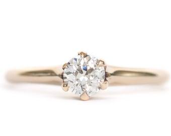 Circa 1880's Victorian 9K Yellow Gold GIA Certified .43ct Circular Brilliant Cut Diamond Engagement Ring - VEG# 900