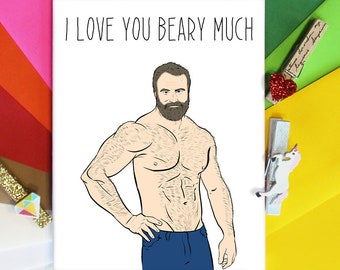 Love you Beary Much, Gay Greeting Card, Gay Card, Gay Greeting, Gay Cards, Funny Gay Greeting, Love Cards, Cards for Him, Boyfriend