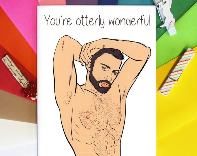You're Otterly Wonderful, Gay Greeting Card, Gay Card, Gay Greeting, Gay Cards, Funny Gay Greeting, Love Cards, Cards for Him, Boyfriend