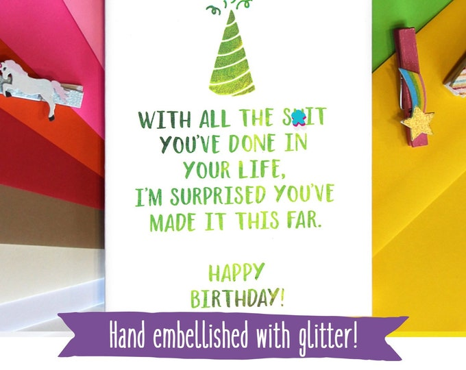 Mature Birthday Card, Funny Bday Card, Card for Sister, Card for Brother, Card for Sibling, Funny Birthday Card, Four Letter Word Cards