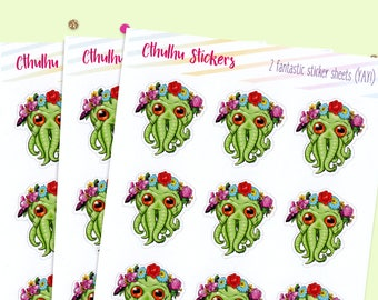 Glossy Sticker Sheets, Cthulhu Stickers, Planner Stickers, Gift for Her, Stocking Stuffer, Coworker Gift, White Elephant Gift, Stationery