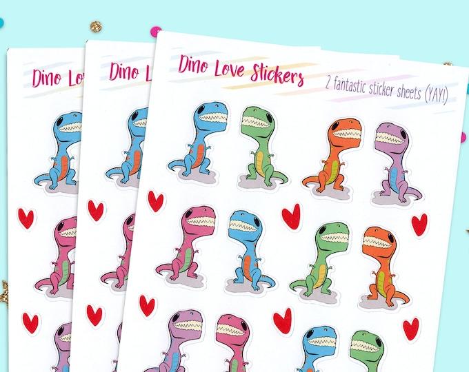 Dinosaur Stickers, Dino Planner Stickers, Dinosaur Planner, Paper Sticker Sheets, Glossy Stickers, Dino Sticker Sheets, Dino Sticker Pack