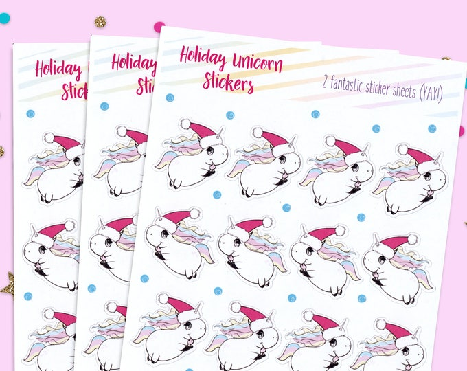 Holiday Stickers, Stocking Stuffers, Gift for Teachers, Unicorn Stickers, Holiday Unicorns, Stationery Stickers, Holiday Sticker Sheets