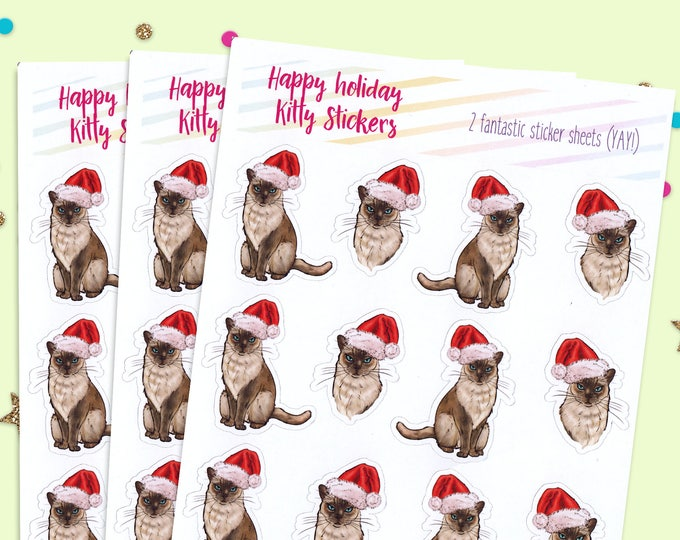 Holiday Stickers, Cat Sticker Sheets, Cat Lover Stickers, Holiday Cat Stickers, Cat Planner, Planner Stickers, Sticker Pack, Holiday Sticker