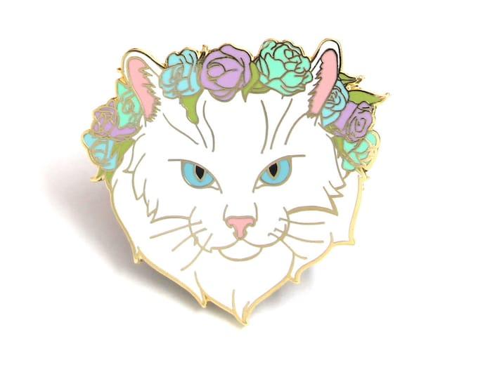 White and Pastel Cat Enamel Pin