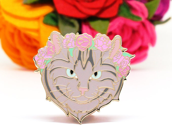 Gray Tabby Cat Enamel Pin - Valentines Day Gift for Her - Galentines Day Gift