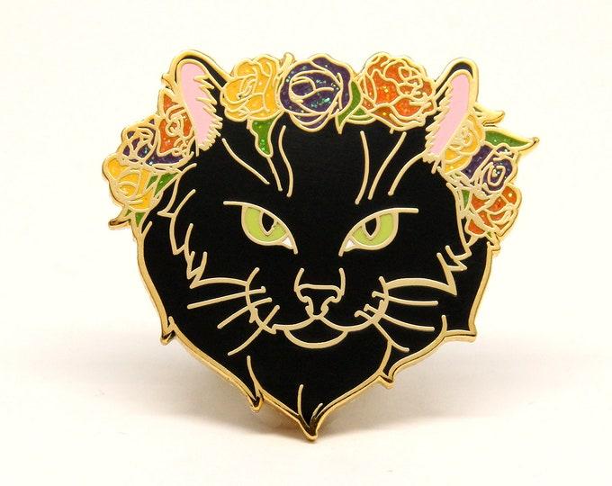 Autumn Jewelry, Halloween Enamel Pin - Black Cat Enamel Pin - Halloween Cat Pin - Cat Lover Gift - Holiday Gift for Pet lover