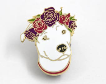 Enamel Pin, Dog Enamel Pin, Dog Lover Gift, Pit Bull Pin, Dog Brooch, Hard Enamel Pin, Holiday Gift for Her, Dog Flair, Holiday Gift for Him