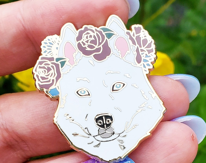 White Husky Enamel Pin - Husky Dog - Dog Lover Gift - Christmas Gift - Dog Jewelry