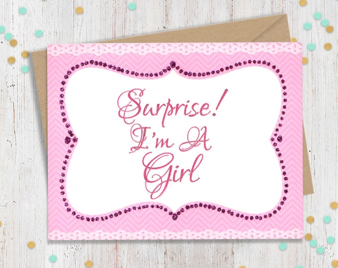 Surprise I'm a Girl - Support Greeting Card - Coming Out - Transgender - Loving Card - FourLetterWordCards