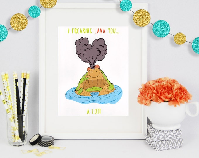 I Lava you a lot, Poster Print, Gift for her, Gift for him, Christmas Gift, Poster Art, Glitter Artwork, Holiday Gifts, Anniversary Gift