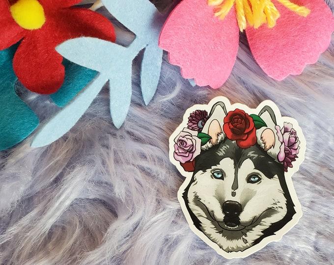 Black Husky Vinyl Sticker - Valentines Day Gift for Dog Lover - Dog Laptop Sticker