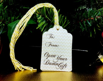 Mature - Holiday Gift Tags - Set of 12 - Christmas - Handmade - Funny - Gifts for Friends - Unique Presents - FourLetterWordCards