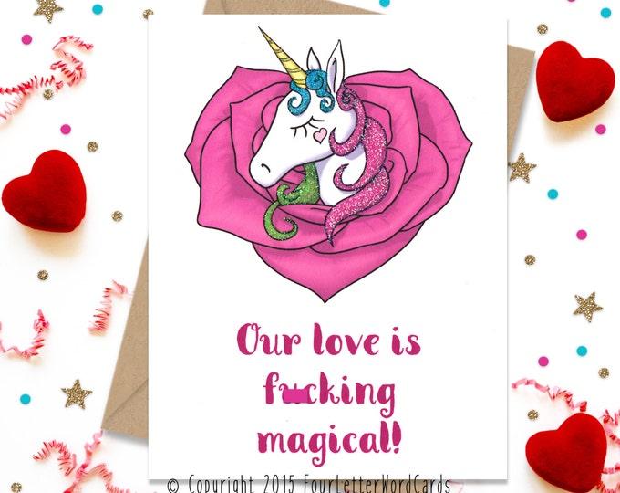 Mature, Valentines Day Gift, Unicorn Card, Valentines Day Card, Card for Her, Card for Him, Anniversary Card, Unicorn Gift, Birthday Card