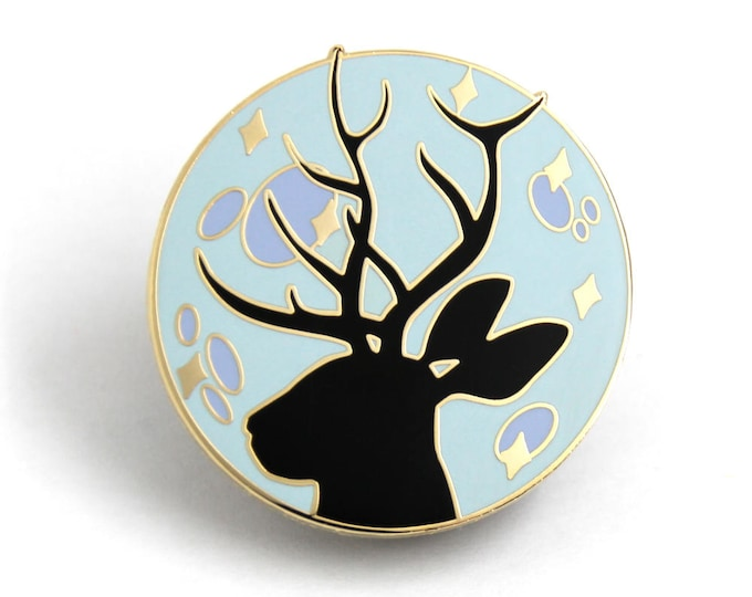 Galaxy Pin, Jackalope Enamel Pin, Hard Enamel Pin, Gift for Her, Gift for Him, Christmas Gift, Lapel Pin, Jackalope Moon, Moon Jewelry