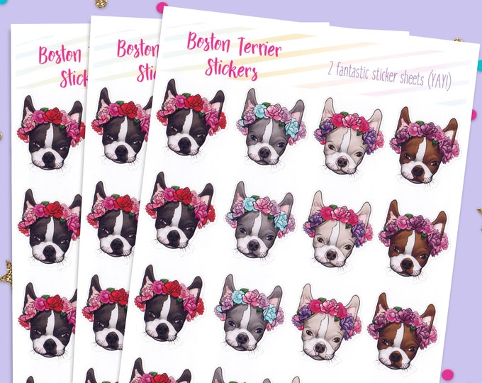 Boston Terrier Dog Stickers, Bullet Journal Stickers, Cute Planner Stickers