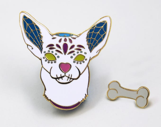 Chihuahua Dog - Day Of the Dead Enamel Pin - Halloween Enamel Pin - Sugar Skull Jewelry - Dog Lover Gift - Stocking Stuffer