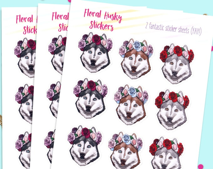 Bullet Journal Stickers, Cute Planner Stickers, Husky Dog Stickers