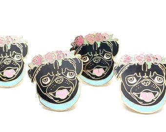 Black Pug Enamel Pin - Pug Lover Gift - Holiday Gift for Dog Lover