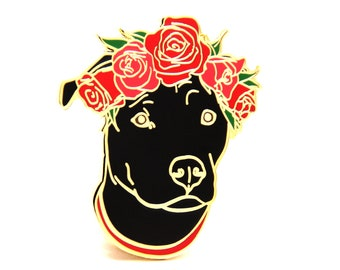 Black Pit Bull - Valentines Day Gift - Gift for Dog Lover - Cute Dog Enamel Pin