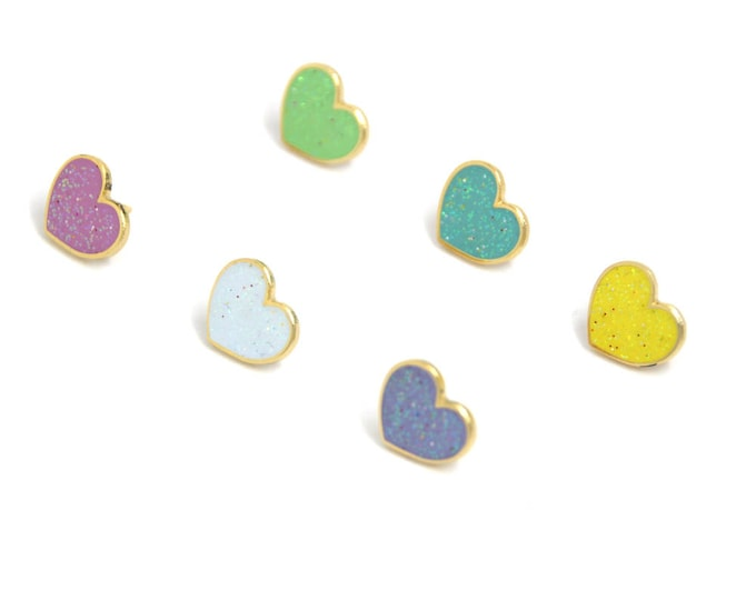Heart Enamel Pin Set - Valentines Day Gift for Her - Mini Enamel Pins - Pastel Hearts