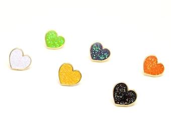 Halloween Pin Set - Gothic Mini Hearts - Halloween Enamel Pins - Black Glitter Enamel Pins