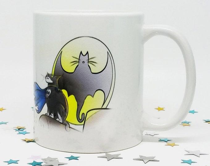 BatCat, Coffee Mug, Funny Coffee Mug, Funny Cat Mug, Cat Coffee Mug, Perfect Gift, Cat Lover Gift, Comic Coffee Cup, Ceramic Mug