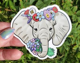 Elephant Flower Crown Vinyl Sticker - Alzheimer's support Laptop Stickers - Coffee Cup Decoration