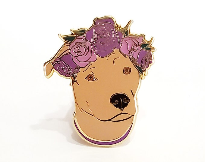 Brown Pit Bull Dog Enamel Pin - Gift For Dog Lover - Valentines Day Gift for Her