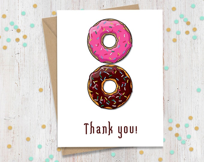 Set of 5 Donut Thank You Cards, Doughnut Cards, Greeting Cards, Funny Cards, Blank Cards, Cards for Friend, Card Set, FourLetterWordCards