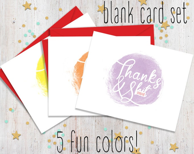Set of 10 Mature Thanks and Sht, Funny Note Cards, Fun Stationery, Blank Note Cards, Note Card Set, FourLetterWordCards