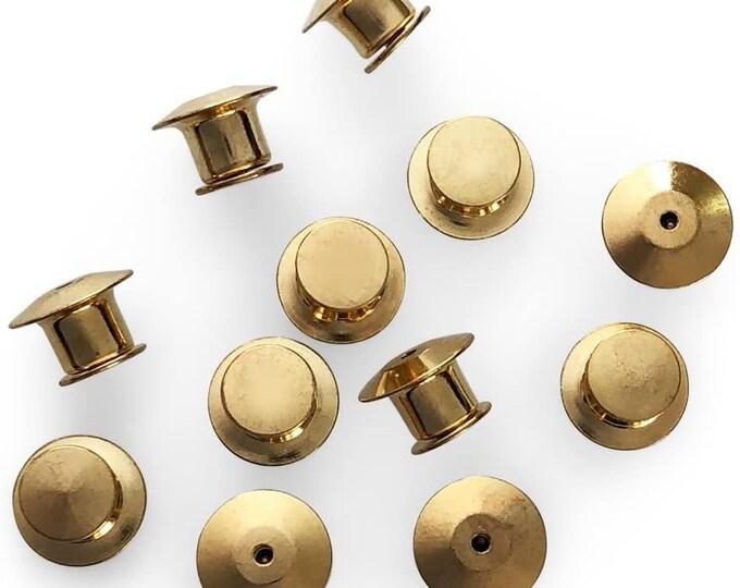 Gold locking Pin Backs (No tool needed)