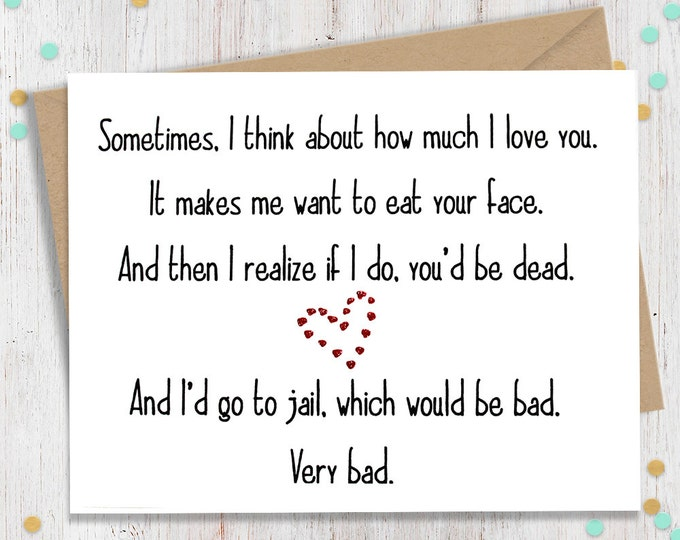 Eat Your Face, Funny Valentines Day, Valentines Day Card, I Love You Card, Funny Greeting, Greeting Card, Card for Him, Card for Her