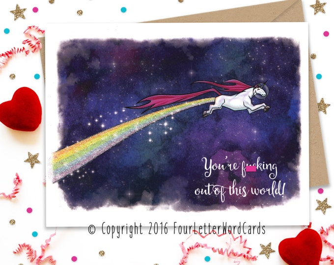 Mature, Valentines Day Card, Valentines Day, Funny Greeting Card, Unicorn Birthday Card, Anniversary Card, Card for Her, Card for Him
