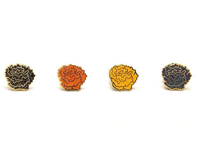Halloween Marigold Enamel Pins - Dia Los Muertos - Black Flower Enamel Pins - Autumn Jewelry - Fall Enamel Pins