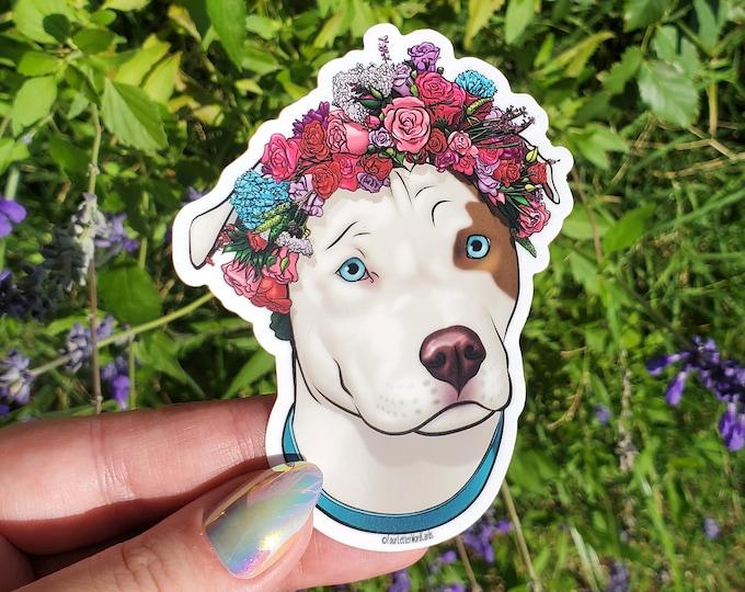 Pit Bull Flower Crown Vinyl Sticker - Dog Laptop Stickers - Coffee Cup Decoration