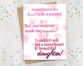 Brave and Beautiful Daughter - Support Greeting Card - Coming Out - Transgender - Loving Card - FourLetterWordCards