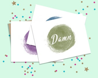 Set of 10 Mature Curse Word Note Cards, Funny Note Cards, Funny Stationary, Blank Note Cards, Note Card Set, FourLetterWordCards