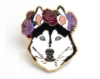 Husky Enamel Pin, Husky Lover Gift, Dog Enamel Pin, Cute Gift for Dog Lover, Dark Gray Husky, Pet Gift