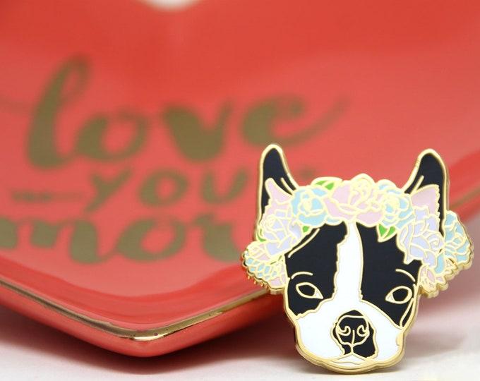 Boston Terrier Flower Crown Enamel Pin