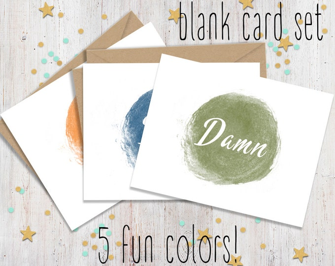 Set of 5 Mature Curse Word Note Cards - Funny Note Cards - Fun Stationary - Blank Note Cards - Note Card Set - FourLetterWordCards