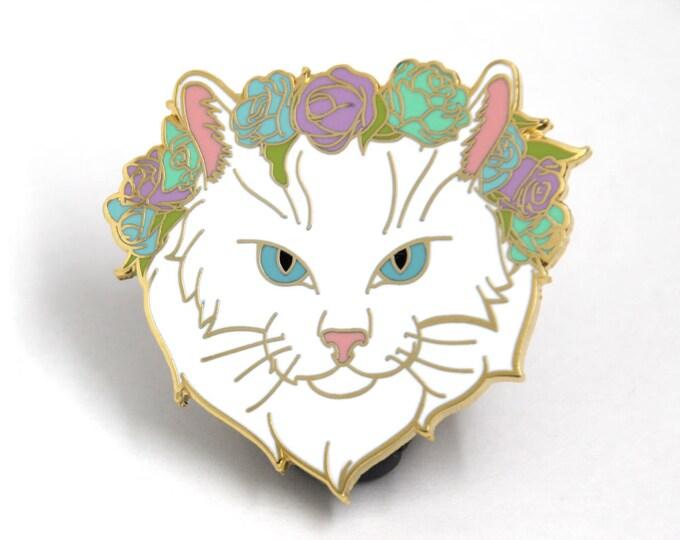 White Cat Enamel Pin - Cat Flower Crown - Pastel Enamel Pin - Cute Hard Enamel Pin