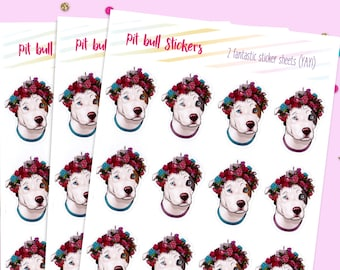Pit Bull Flower Crown, Bullet Journal Stickers, Cute Planner Stickers