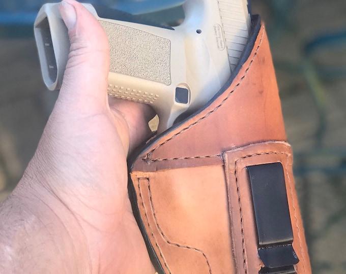 IWB Handmade leather holster small, medium, or large pistol holster