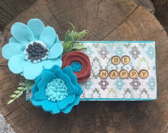 Shelf sitter or tiered tray farmhouse distressed block Be Happy