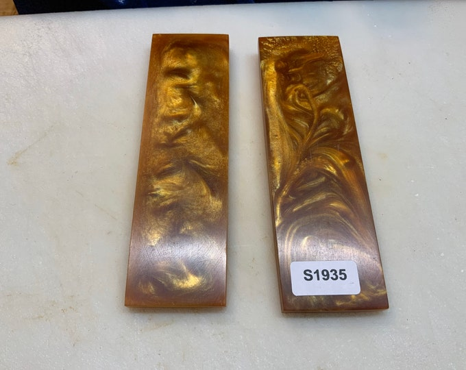 """Knife Making Resin Knife Scales Gold and Glitter Royal Swirl 1.5x5x1/4"""""""