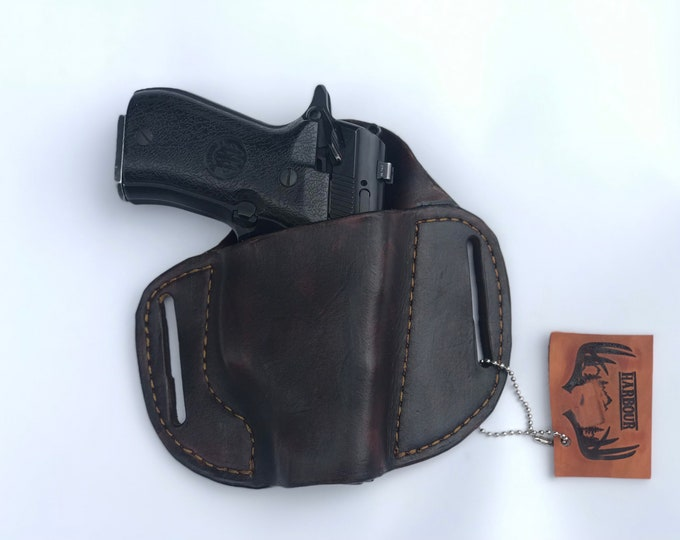 Large OWB RH Lh Handmade leather holster medium OWB pistol holster